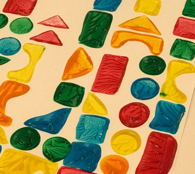 Colorful painting made using shape blocks (Kindergarten Art)