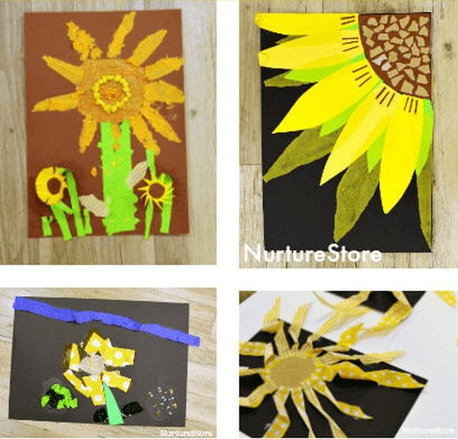 Collage of art projects depicting sunflowers, made in a variety of styles