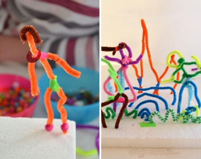Pipe cleaners bent into creative shapes and pushed into styrofoam blocks (Kindergarten Art)