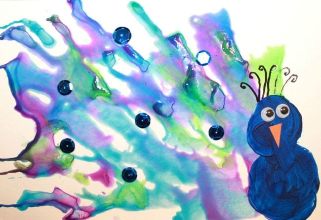 Watercolor peacock with sequins and googly eyes (Kindergarten Art)