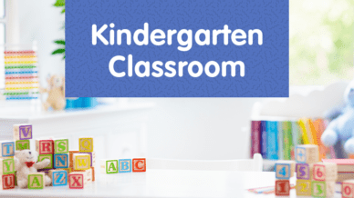 "Alphabet blocks with the title, ""Kindergarten Classroom."""