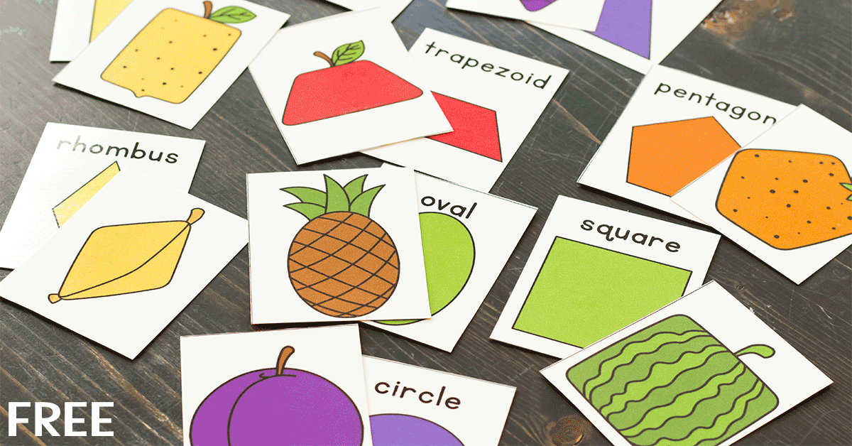 Cards showing shapes and pictures of fruit to match shapes (Kindergarten Math Game)