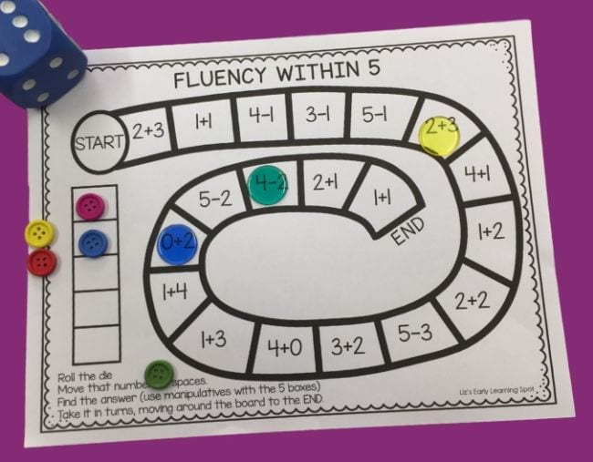 Board game called Fluency Within Five, with colorful markers and blue die