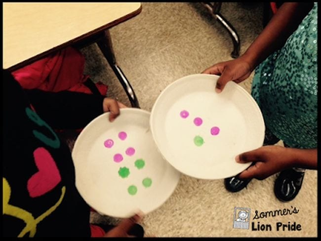 Two students holding paper plates with different numbers of colored dots