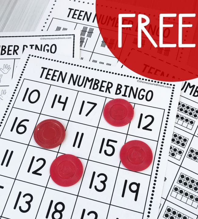Bingo cards with teen numbers and red markers