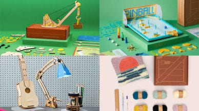 Four Images of Homemade Yarn, Pinball, Desk Accessories, and a Crane