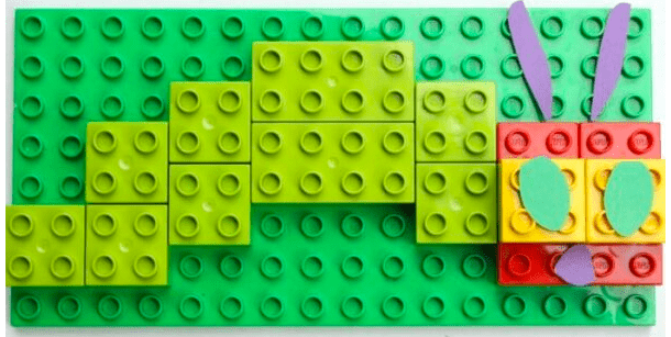 LEGO model of very. hungry caterpillar