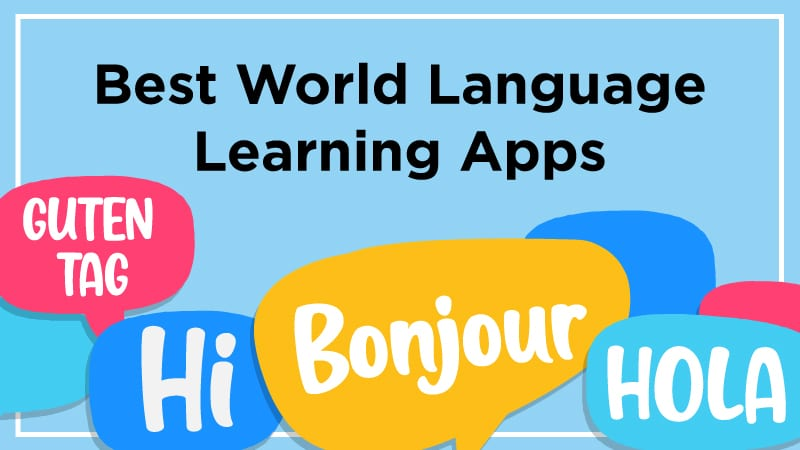 Best world language learning apps with speech bubbles.