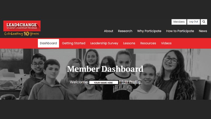 Lead4Change Teacher Dashboard Screenshot
