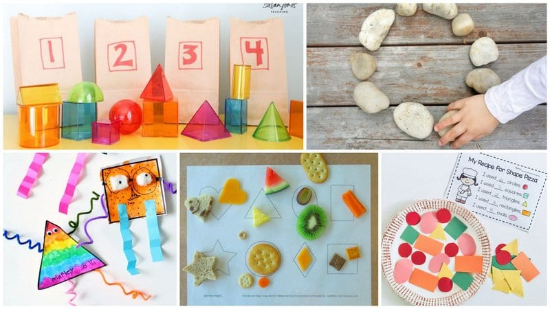 Five separate images of activities to learn shapes from paper to rocks.