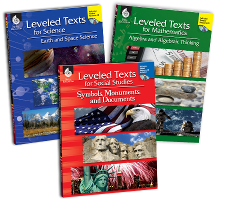 Collage of three Leveled Text book covers for science, math, and social studies