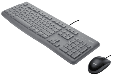 Logitech MK120 Combo: black mouse and gray keyboard with silicone cover
