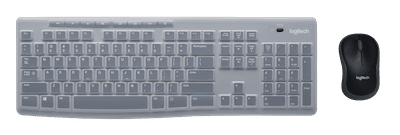 Logitech MK270 Combo: black mouse and gray keyboard with silicone cover