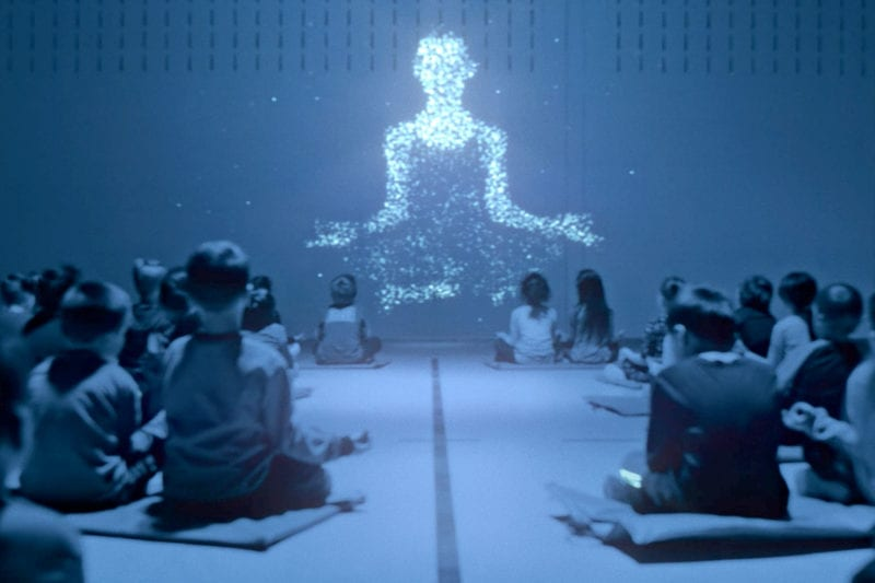 Students using Lu software to meditate