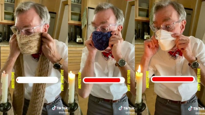 A collage of Bill Nye trying to blow out a candle while wearing different types of masks (Germ Science Experiments)