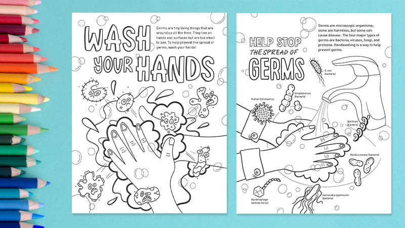 Free Coloring Pages: For Cute And Fun Germ Education