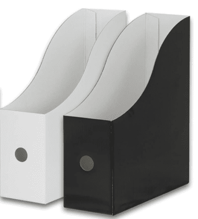Magazine holders for middle school math supplies