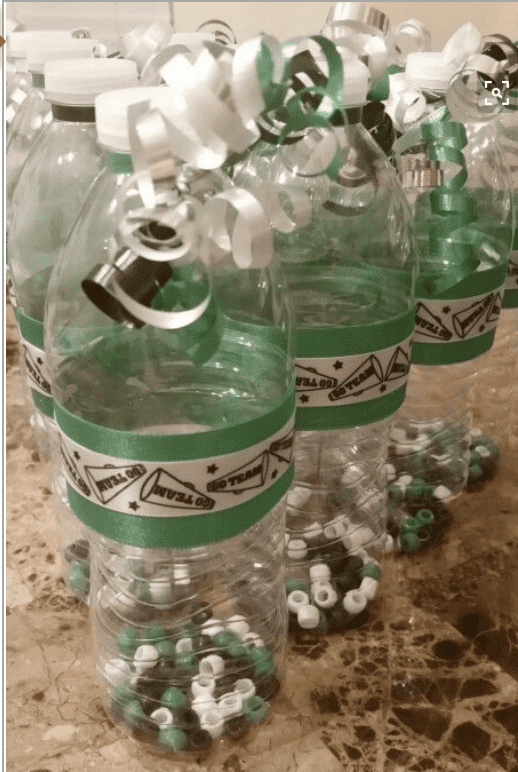 Plastic water bottles with beads in them so they can be used as school spirit shakers