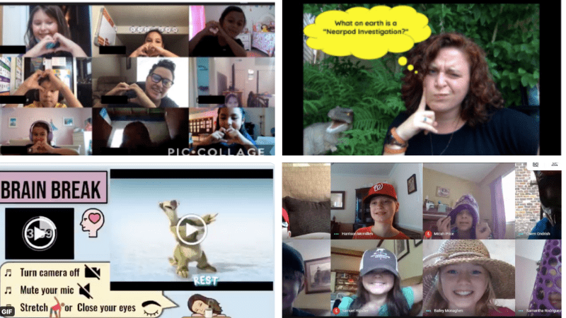 Four separate images of online classroom meetings.