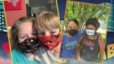Two images of children properly wearing their masks.
