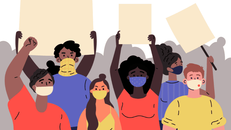 Cartoon image of masked protestors indicating WeAreTeachers Predicts: These Will Be The Biggest Issues In Education This Year
