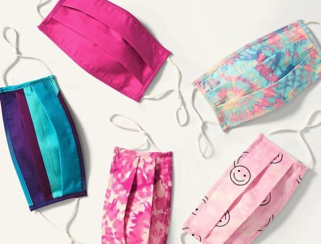 Cotton pleated face masks in pink solids and patterns