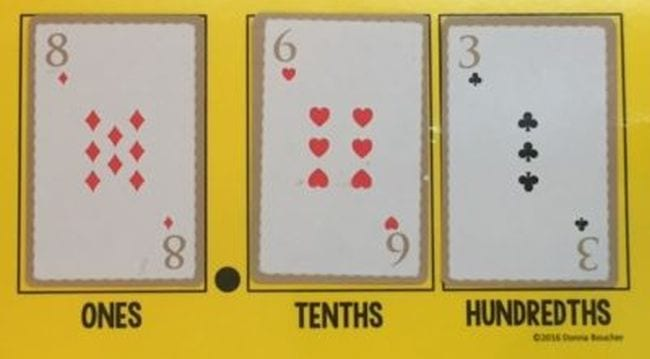 Playing cards laid out on place value mat with sections for ones, tenths, and hundredths