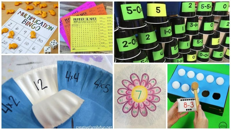 Collage of Ways to Practice Math Facts