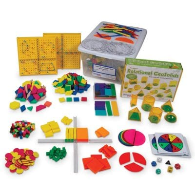 Math game with colored pieces.