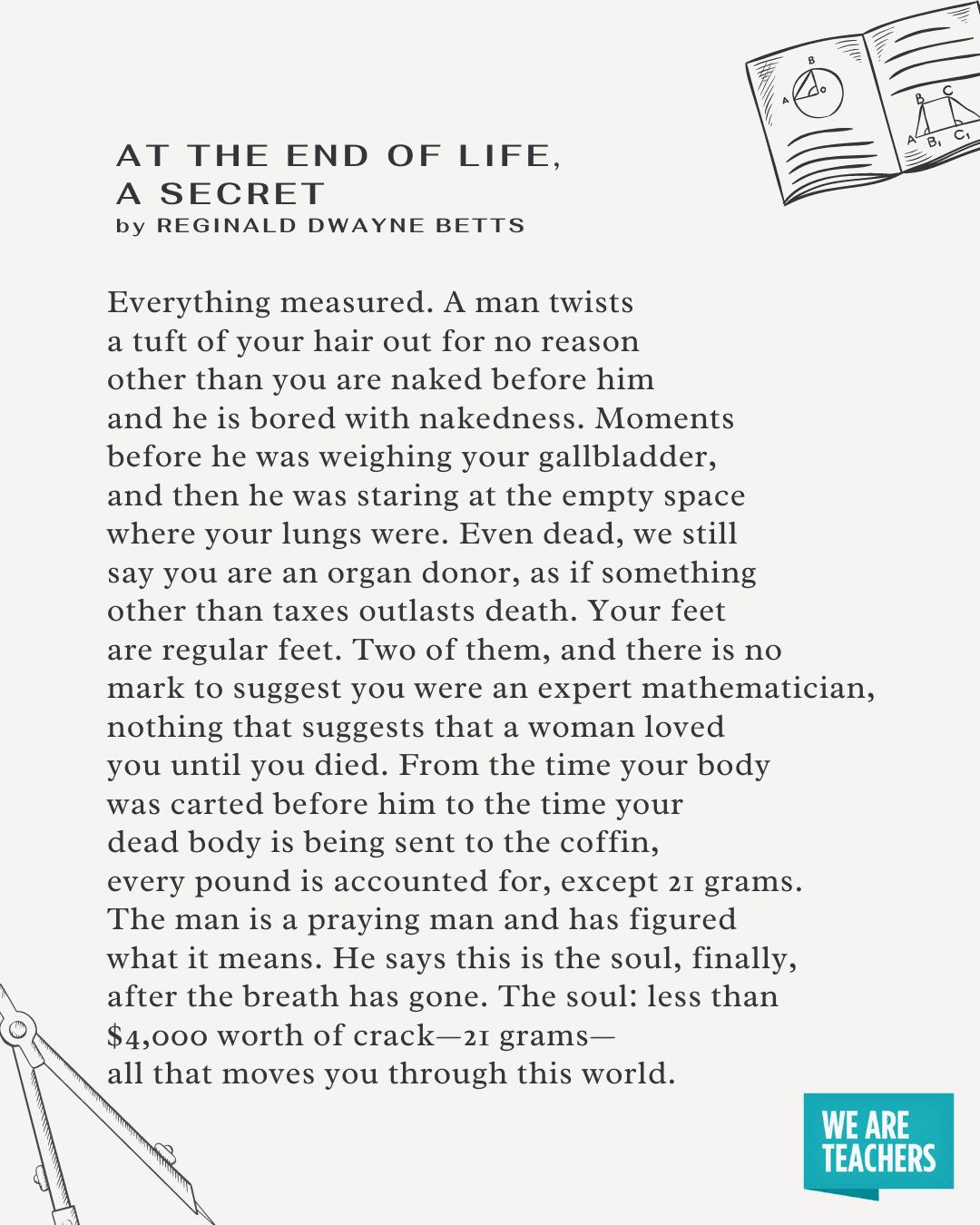 في نهاية الحياة ، قصيدة سرية في الرياضيات