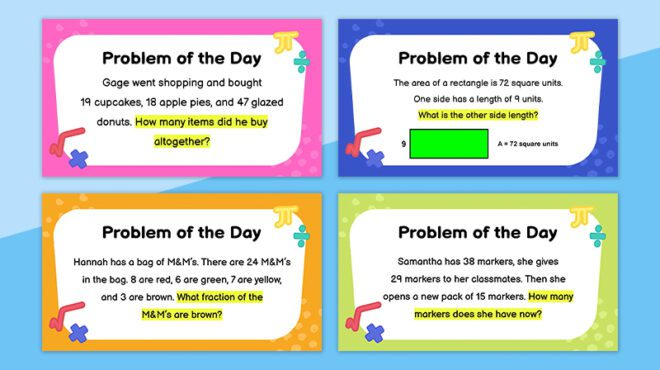 Four daily math problems on a light blue background.