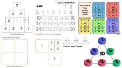 Collage of Math Puzzles and Number Tricks