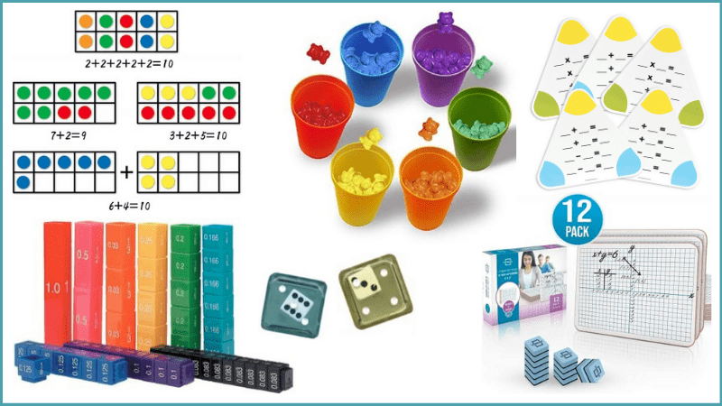 various colored math supplies for 2nd graders.