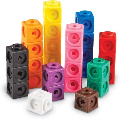 Colored mathlink cubes.