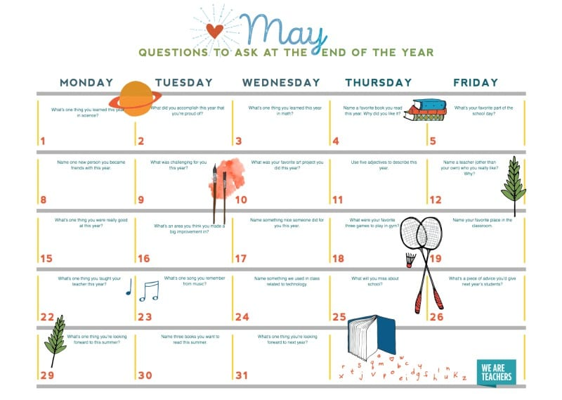 picture about Countdown Calendar Printable known as Cost-free PRINTABLE: Might Faculty Countdown Calendar - WeAreTeachers