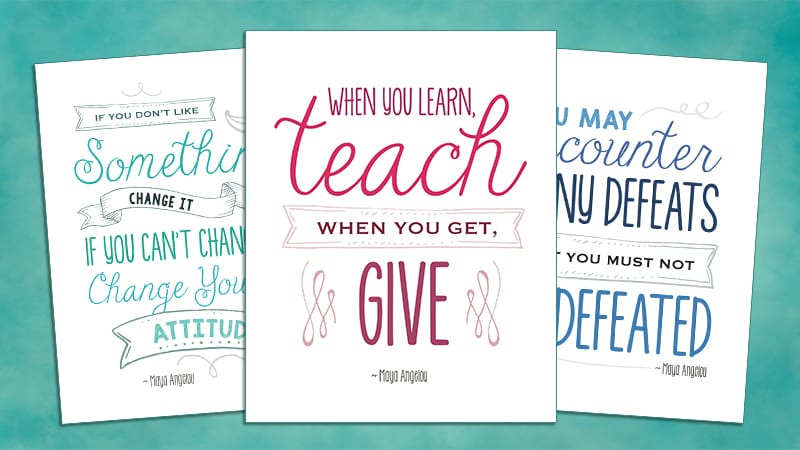 picture relating to Free Printable Classroom Posters titled Maya Angelou Education and learning Rates: 8 Free of charge Printable Posters