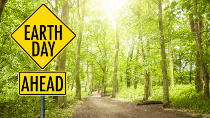 "Forest with ""Earth Day Ahead"" street sign"