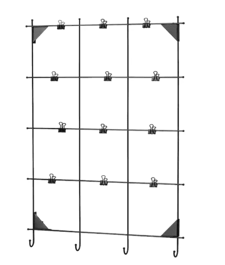 metal wire frame memo board with binder clips attached