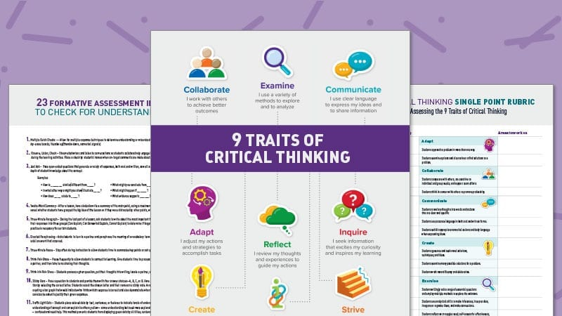 Get a Free Critical Thinking Poster, Rubric, and Assessment Ideas