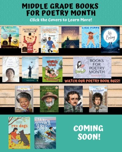 Covers of recommended middle grade books for Poetry Month