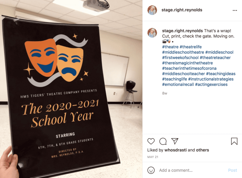 """Poster being held up in front of the camera reads """"The 2020-2021 School Year Starring 6th, 7th and 8th grade students"""