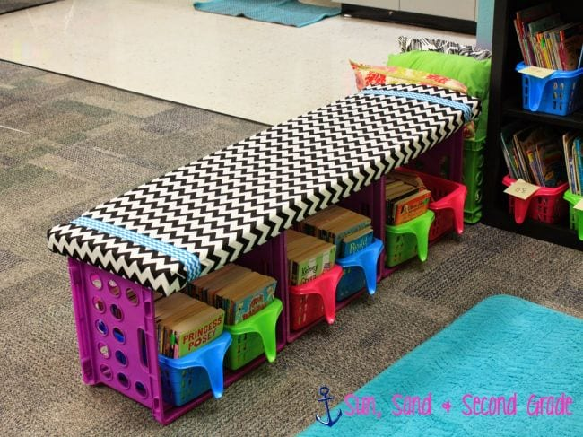 Milk Crates Bench Sun and Second Grade
