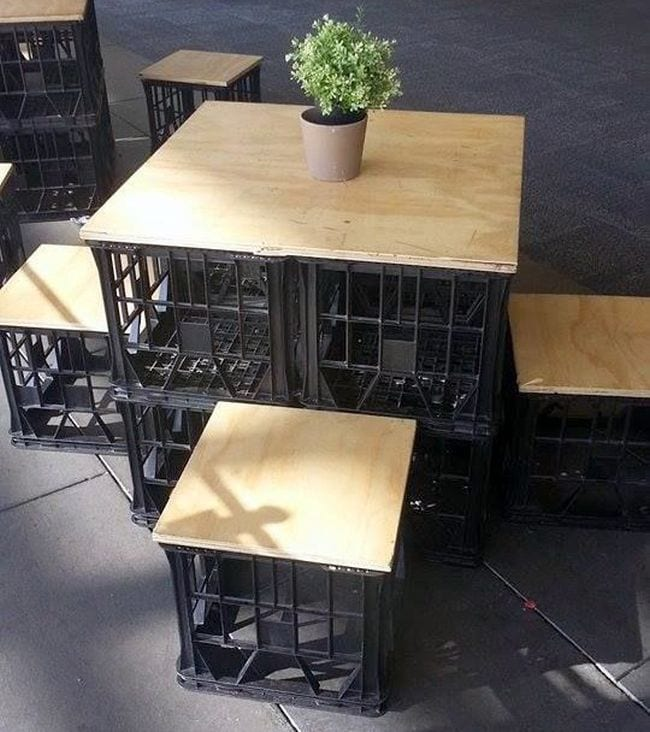 Milk Crates Table and Chairs