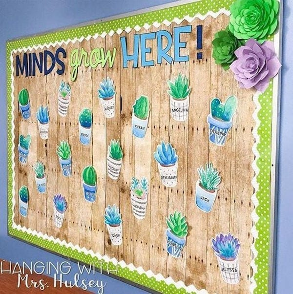 """Shiplap wood classroom accent wall featuring cacti and """"minds grow here"""""""