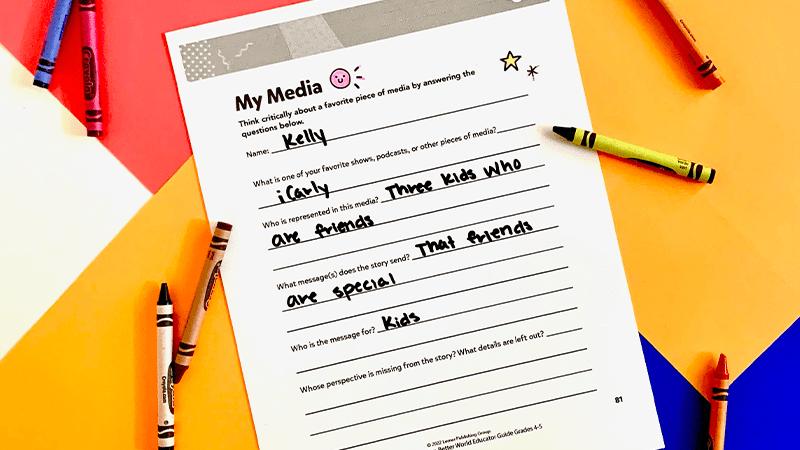 My Media, a diversity activity for grades 4-5