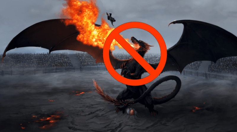 A fire-breathing dragon with a crossed-out symbol around its face.