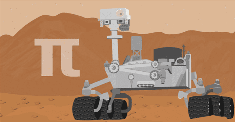 Pi symbol and a space vehicle on a red and brown background