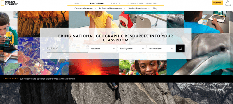 National Geographic Education search engine.
