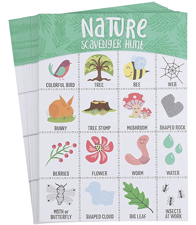 A nature bingo activity for kids to do outside