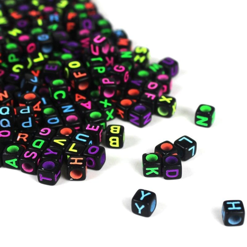 Neon Letter Beads